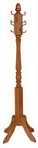 Amish Hall clothes tree Oak Hardwood Reeded 66 inch unassembled