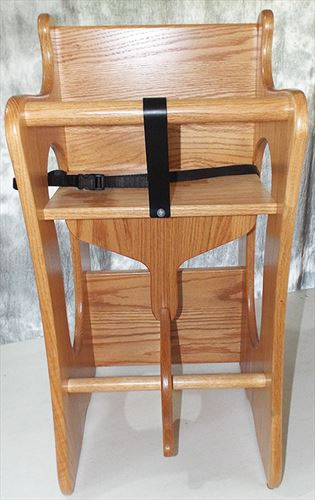 Amish Childs 3-in-1 High Chair Rocking Horse Childs Desk Oak Light Stain  Baby Furniture