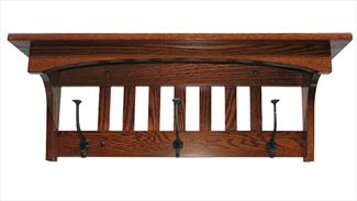 Amish Mission Captain Multiple Hook Coat and Cap Rack Oak, Cherry, Maple, QSWO  Hardwood