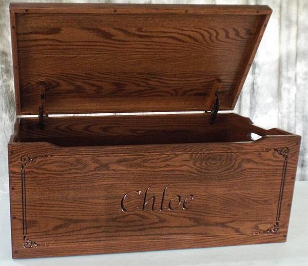 Amish Chest Personalized NameToy Chest OAK Chest Deluxe Two Safety Hinges