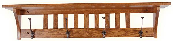 Amish Oak Mission 32 or 42 or 51 inch Shelf with Black Hooks Furniture