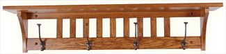 Amish Oak Mission 32 or 42 or 51 inch Shelf with Black Hooks Furniture