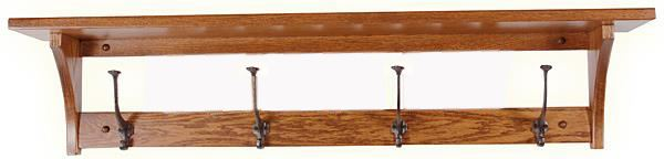 Amish Oak SHAKER 32 or 42 or 51 inch Shelf with Black Hooks Furniture