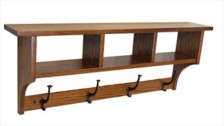 Amish Seven inch SHAKER Cubbie Shelf with Knick-Knack Storage in a Variety of Lengths of Oak & Other Hardwood