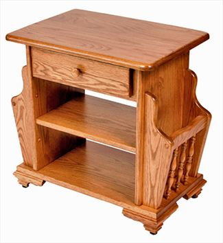 Amish Magazine Stand Available in Oak or Cherry Hardwood