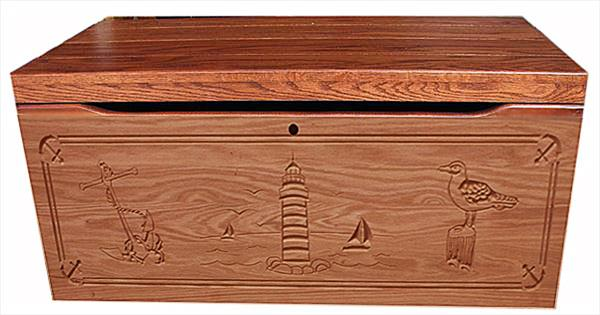 Amish Chest NAUTICAL Toy Chest Oak Chest Fruitwood Deluxe Two Safety Hinges