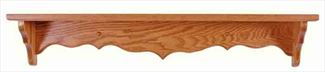 Amish Five inch Deep Curveback Shelf Available in Nine Different Lengths Oak Hardwood