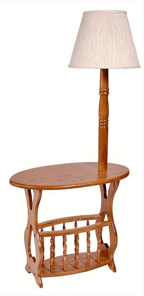 Amish Oval Top Magazine Table and Rack with Lamp Oak Hardwood