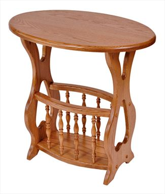 34Amish Oval Top Magazine Table and Rack Oak or Cherry Hardwood