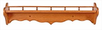 Amish Seven inch Deep Curveback Shelf with Decorative Rail Available in Eight Different Lengths Oak Hardwood