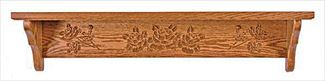 Amish Five inch Deep Rose Shelf Available in Four Different Lengths Oak Hardwood