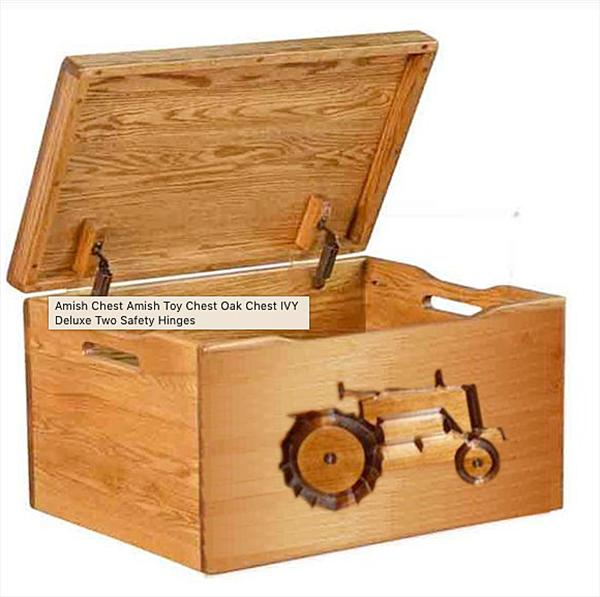 Amish Chest TRACTOR Toy Chest Oak Chest Deluxe Two Safety Hinges
