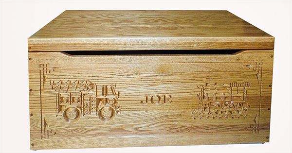 Amish Chest Personalized Name Loco Fire Chest OAK Chest Deluxe Two Safety Hinges