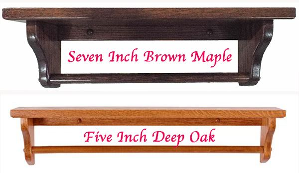 Amish Five/Seven inch Deep Towel Bar Shelf Available in Four Different Lengths Oak Hardwood