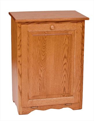 Amish Furniture Oak Kitchen Trash (Optional Carved Top) Bin Flattop Tilt Out 10/13 gallon