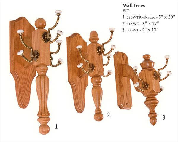 Amish Three Brass Hook Wall Tree Coat Rack Oak or Cherry Hardwood
