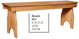 Amish Bench Available in Four Different Lengths Oak Hardwood