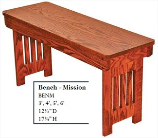 Amish Mission Bench Available in Four Different Lengths Oak & Hardwoods