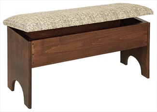 Amish Fliptop Storage Bench CUSHIONED in Four Different Lengths Oak Hardwood