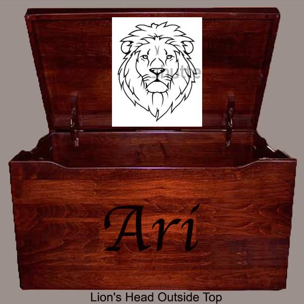 Amish Chest CHERRY Toy Chest Personalized Lion Head Chest Deluxe Two Safety Hinges