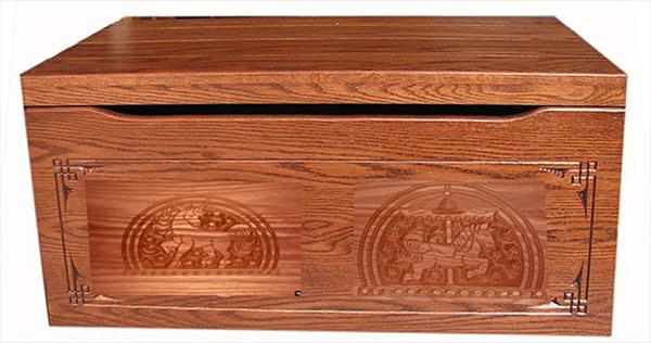 Amish Chest HORSES Toy Chest Oak Chest Fruitwood Deluxe Two Safety Hinges