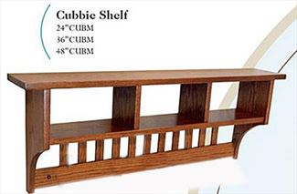 Amish Seven inch MISSION Cubbie Shelf with Knick-Knack Storage in a Variety of Lengths of Oak & Other Hardwood