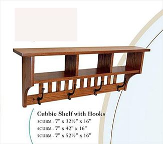 Amish Seven inch Cubbie Shelf with Coat Hooks in a Variety of Lengths of Oak Hardwood