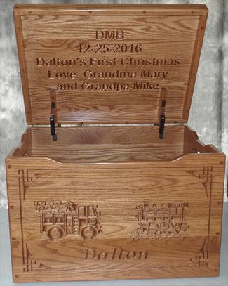 Amish Chest Personalized Name Personal Locomotive Fire Engine Toy Chest OAK Chest Deluxe Two Safety Hinges