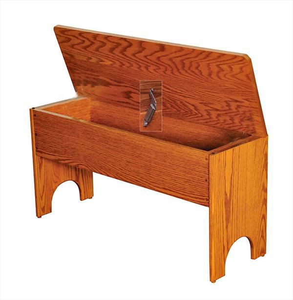 Amish Fliptop Storage Bench Available in Four Different Lengths Oak Hardwood