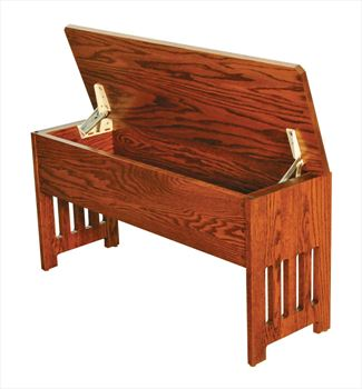 Amish Mission Fliptop Storage Bench Available in Four Different Lengths Oak Hardwood