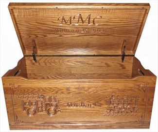 Amish toy chest handmade & hardwood - locomotive & firetruck & personalized