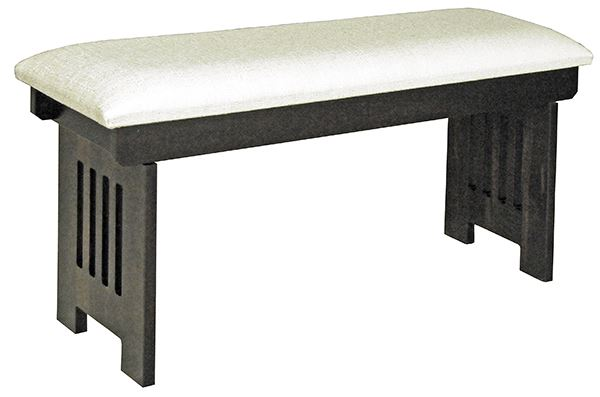 Amish Fliptop Bench mission CUSHIONED in Four Different Lengths Oak Hardwood