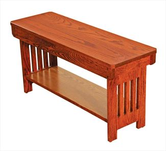 Amish Mission Bench with Shelf Available in Four Different Lengths Oak Hardwood