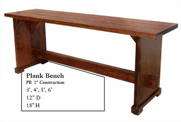 Amish PLANK Bench Available in Four Different Lengths Oak Hardwood
