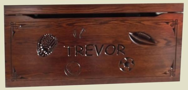Amish Chest Personalized Name Personal SPORTS Toy Chest OAK Chest Deluxe Two Safety Hinges