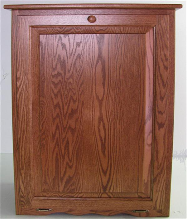 Oak Kitchen Trash Container Hard Wood-Amish-Tilt Out 10/13 gallon