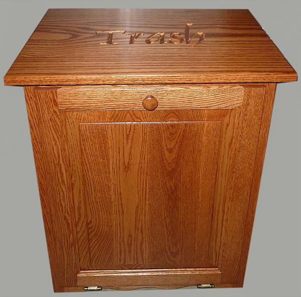 This is a unique and useful amish furniture oak kitchen trash bin flattop tilt out 10 gallon - Amish tilt out trash bin ...