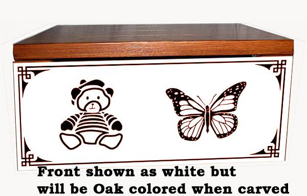 Amish Chest Personalized Butterly-Teddy Bear Toy Chest OAK Chest Deluxe Two Safety Hinges