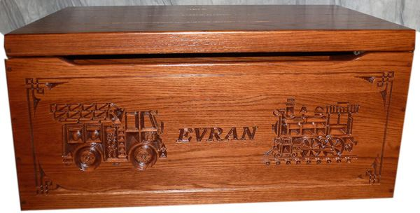 Amish Chest Personalized Fire Engine Train Toy Chest OAK Chest Deluxe Two Safety Hinges