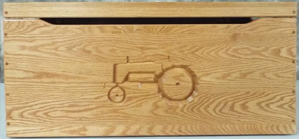 Amish Chest Personalized TRACTOR Toy Chest OAK Chest Deluxe Two Safety Hinges