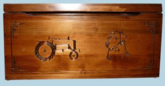 Amish Chest Personalized Toy Chest Silver Maple Chest Deluxe Tractor and Dog