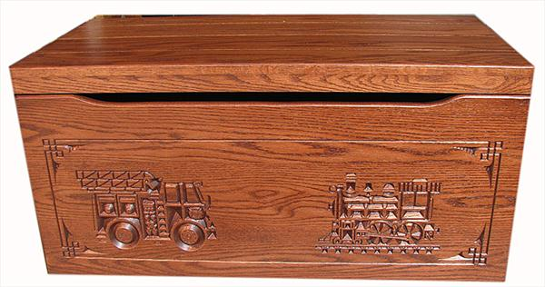 Amish Chest Fire Train Toy Chest Oak Chest Fruitwood Deluxe Two Safety Hinges