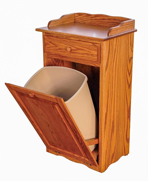 Amish Furniture Oak Kitchen Trash Container Drawer Tilt Out 13 gallon