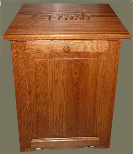 Amish Furniture Oak Kitchen Trash Bin Flattop Tilt Out 10 gallon