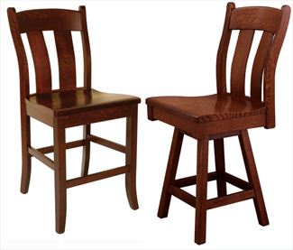 Amish Austin Back Dining & Kitchen BACK Bar Stool furniture oak Lumbar Support & Swivel