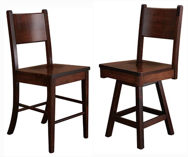Amish Denver Single SLAT Back Dining & Kitchen CURVED BACK Bar Stool furniture oak Lumbar Support back arm Bar Stool chair
