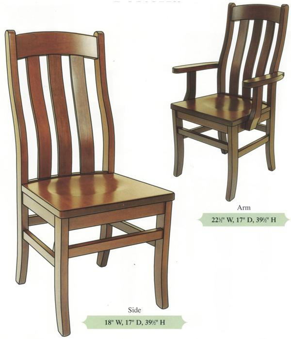 Amish Handmade Hardwood Chairs-three Slat Bent Back Shaker Tapered Leg Arm & Side Chairs