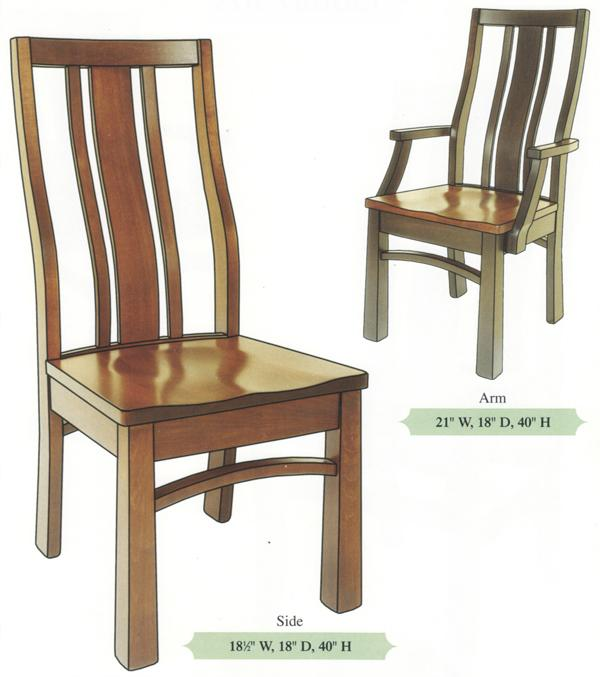 Amish Handmade Three Uneven Slat Bent Back Hardwood Chairs- Reverse Tapered Leg Arm & Side Chairs