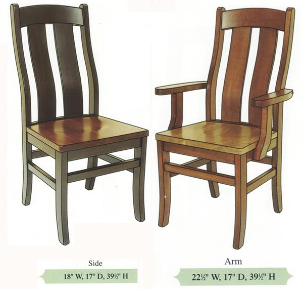 Amish Handmade Hardwood Chairs Complex Bent Back Shaker Reverse Tapered Leg Arm & Side Chair