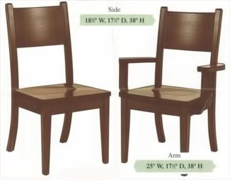 Amish Handmade Hardwood Chairs Curved Back Shaker Tapered Curved Leg Arm & Side Chair